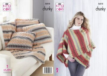 King Cole Womens Wrap,Throw and Cushion Covers Knitting Pattern in Chunky , 5410,